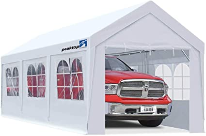 Amazon Com Peaktop Outdoor 10 X 20 Ft Upgraded Heavy Duty Carport Car Canopy With Removable Sidewalls Portable Garage Tent Boat Shelter With Reinforced Triangular Beams And 4 Weight Bags White Garden Outdoor