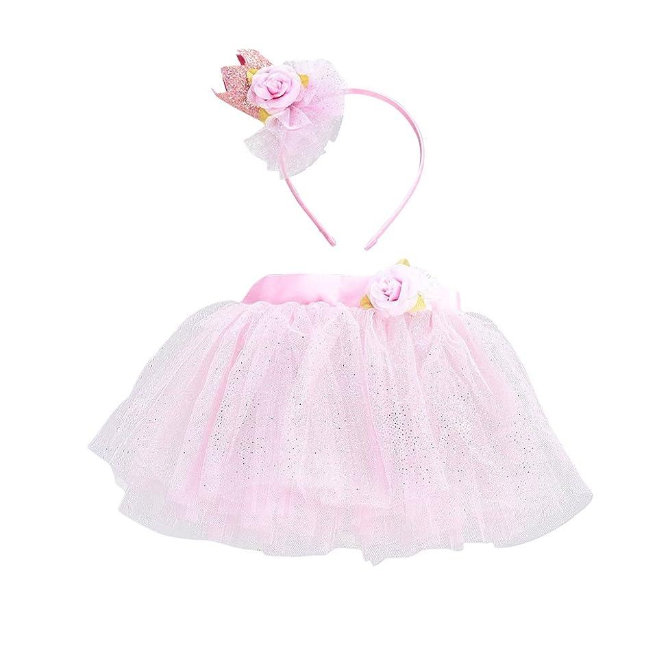 アストロラーベ有望不快LUOEM 女の子TutuスカートセットヘッドバンドプリンセスガールTutu服装Baby Girls Birthday Outfit Set(ピンク)