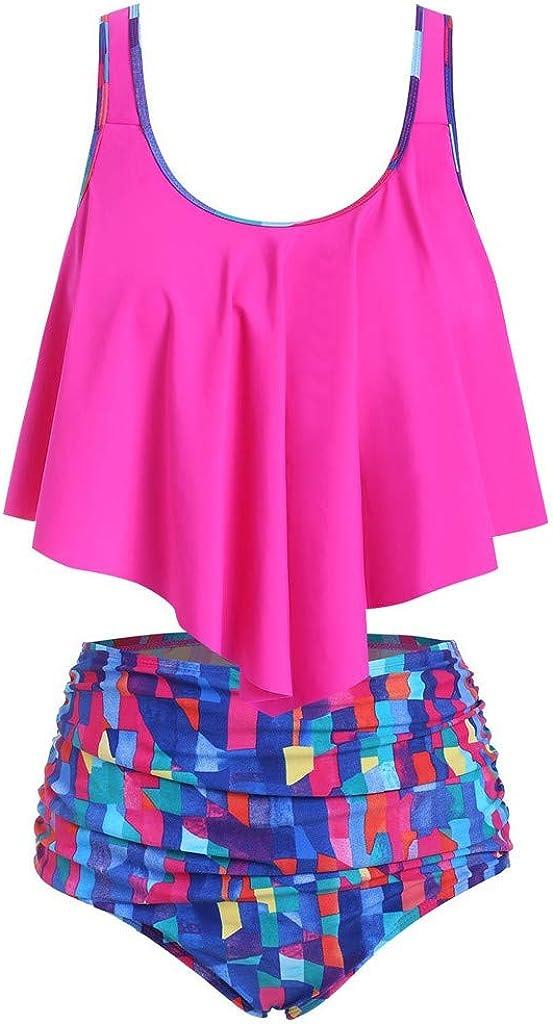 FORUU Cute Swimsuits for Women 2020,Summer Sunflower Print 2 Piece Bathing Suit Push-Up Padded Overlay Bikini