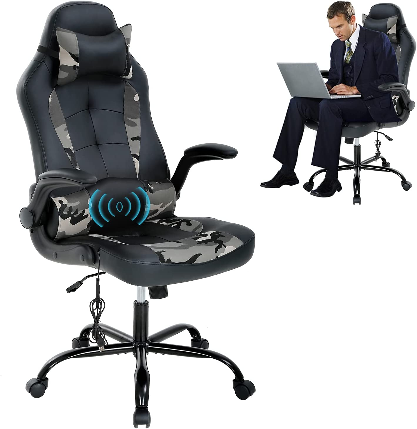 Office PC Gaming Chair Adjustable Flip and Raleigh Mall Headrest Fees free!! Up Armrest