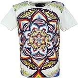 Guru-Boutique Miroir - Camiseta de algodón Mandala/Blanc L