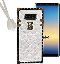 BabeMall Compatible for Samsung Galaxy Note 9 Case, Luxury Diamond Design Metal Gold Four Corner Protective Square Anti-Fall PU Leather Back Classic TPU Bumper Case - White