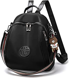 Xuan Yuan Backpack - Women's Fashion Versatile Canvas Oxford Backpack Multi-Function Leisure Travel Large Capacity Bag Mini Personality Street Trend Backpack (Color : Black)