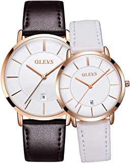 OLEVS His and Hers Couple Watches Fashion Minimalist Ultra Thin Quartz Analog Wrist Watches and Luxury Leather Watches Calendar Day Waterproof Watch Gifts Set for Lovers Set of 2