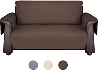 Wonwo Sofa Cover, Sofa Slipcover Anti-Slip Reversible Couch Cover for 3 Cushion Couch with Elastic Straps, Machine Washable Furniture Protector for Pets, Dogs, Cats, Kids (Sofa, Brown)