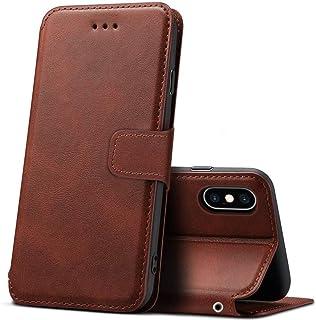 iPhone XS Max ケース 手帳型 カード収納 横置きスタンド機能 サイドマグネット [PUレザー 裏TPU] 合皮レザー 衝撃吸収 薄 軽 ビジネス Qi充電対応 財布型 全面保護 ストラップホール付き カバー [6.5インチ]