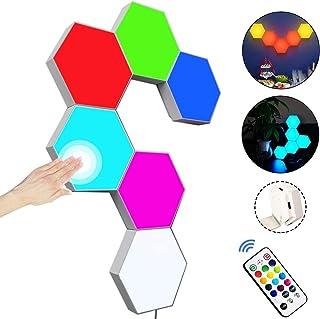 Sechseck Wandleuchten mit Fernbedienung, Intelligente LED Lichtplatten RGB Gaming Lampe Touch-Steuerung Stimmungsbeleuchtu...