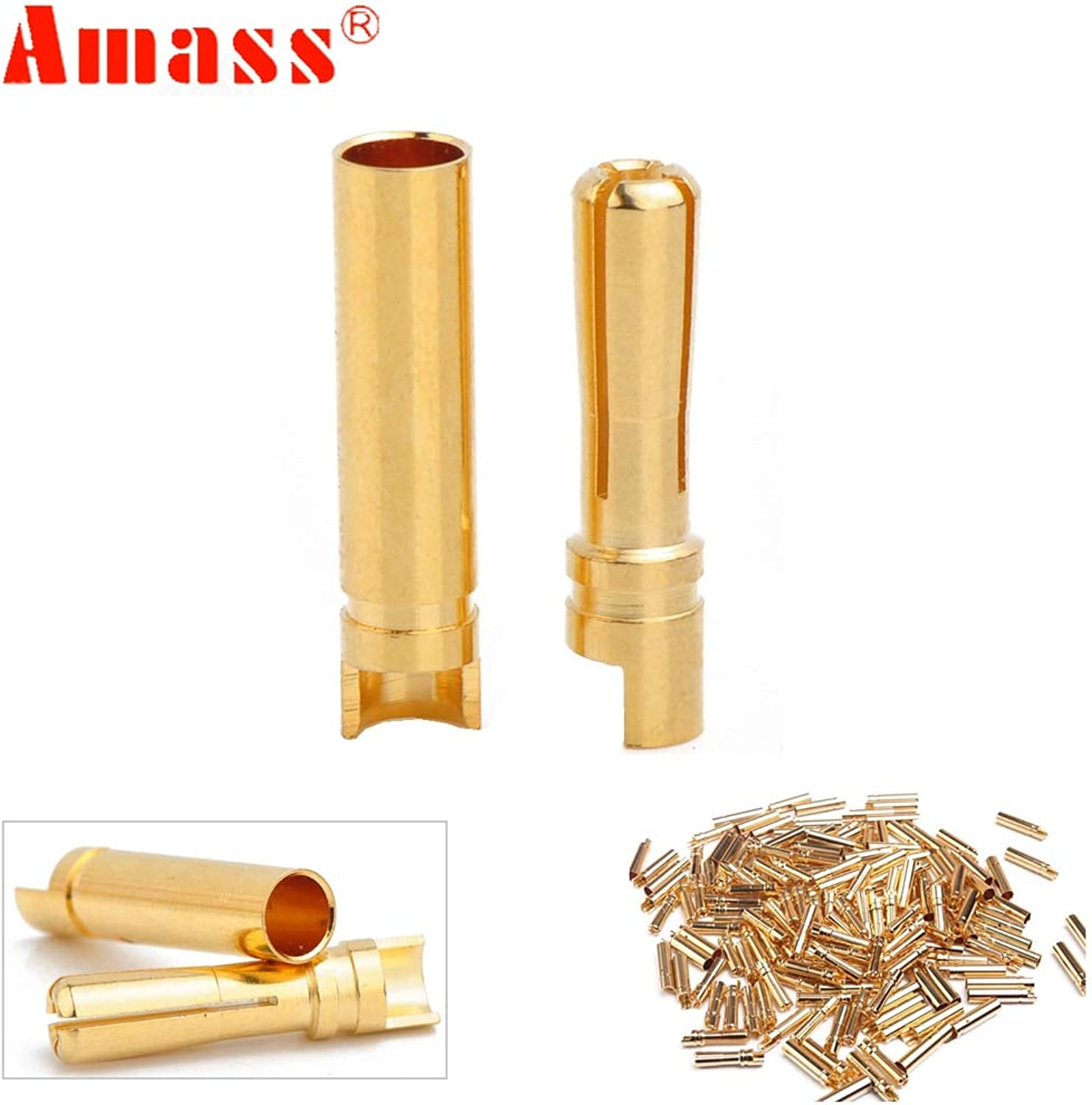 20pcs lot Amass 4.0mm 4mm gold Plated Bullet Connector for RC Battery ESC and Motor Helicopter Boat Quadcopter (10 Pair)