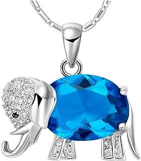 WIBERN Good Luck 18K White Gold Plated Shine Crystal CZ Elephant Pendant Women Necklace Noble Jewerly