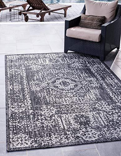 Unique Loom Teppich 2,4 x 3,4 m, rechteckig 8' 0 x 11' 4 Rectangle Kohlegrau/Dunkelgrau