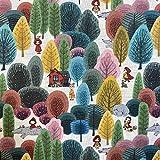 Kt KILOtela Tela de Patchwork - Estampación Digital - 100% algodón - Retal de 50 cm Largo x 140 cm Ancho | Caperucita Roja en el Bosque - Multicolor ─ 0,50 Metro
