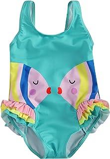 Bañador para Niña de Una Pieza con Dibujo Pececito Enamorado Traje de Baño Una Pieza con Volantes para Niña de 2-6 Años