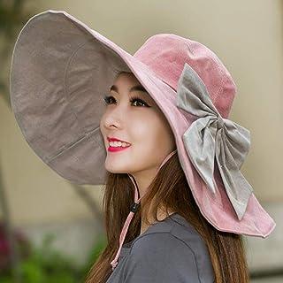 CJC Sombreros para El Sol Lino Empacable Plegable Extra Grande Borde Flexible Playa Gorras Señoras Chicas Mujer (Color : Rosado, Tamaño : 54-60CM)