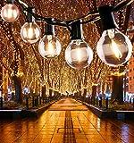 Guirnalda Luces Exterior, 7.62M Cadena de Luz, G40 Guirnaldas Luminosas de Exterior con 25 Blanco Cálido Bombillas, IP44 Impermeable para Habitación,Jardín, Bodas,Terraza,Césped,(5 Bombillas Repuesto)