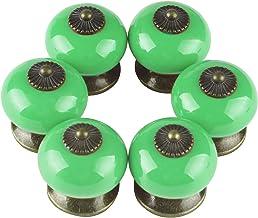 Larcele Vintage kastknop deurknop keramische handgrepen voor lade, rond, 6 stuks CTLS-01 groen