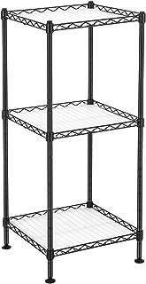 SONGMICS Étagère pour salle de bain à 3 niveaux, Étagère d'angle métallique robuste, charge 60 kg, avec 3 planches en plas...
