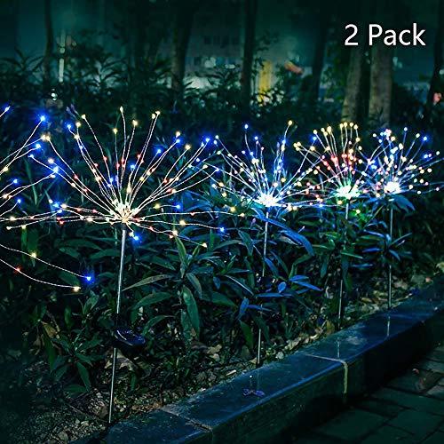 Solarleuchten Garten Deko, 2 Stück 120 LED Solar Feuerwerk Licht 40 Kupferdrähte Landschaftslicht DIY Draussen Blüht Gartenstecker für Patio Rasen Außen Balkon Weihnachtsfest-Dekor (Mehrfarbig)