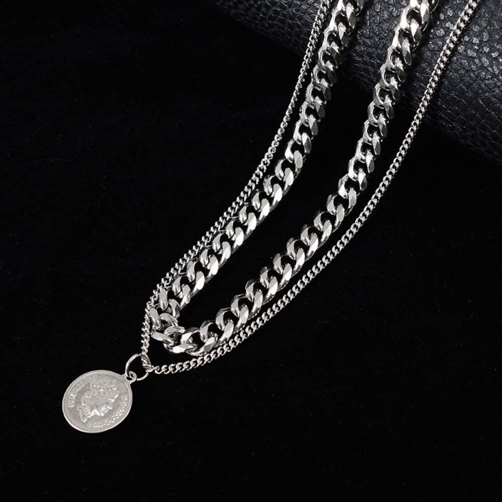 Naswi Retro Queen Avatar Coin Collares Kolye Steel Layered Necklace for Women Stainless Steel Pendant Necklaces Hip hop Jewelry