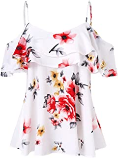 iTLOTL Fashion Women's Loose Short-Sleeved Feather Print T-Shirt Casual O-Neck Top