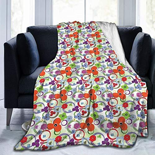 Manta esponjosa, flores de colores arcoíris y anillos en estilo ombre, fondo abstracto de tono verde, ultrasuave, manta para dormitorio, cama, TV, manta de cama de 50 x 40 pulgadas