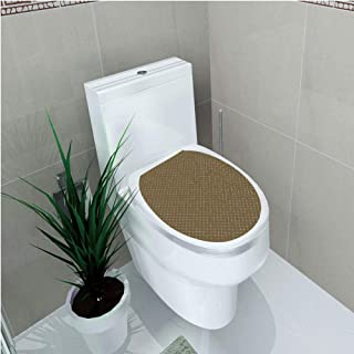 Toilet Sticker 3D Print Design,Abstract,Floral Arrangement Vintage Checkered Pattern Dotted Lines Surreal Nature,Umber Multicolor,for Young Mens,W11.8