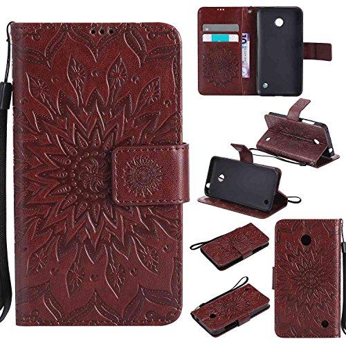 pinlu® PU Leder Tasche Etui Schutzhülle für Nokia Lumia 630 635 Lederhülle Schale Flip Cover Tasche mit Standfunktion Sonnenblume Muster Hülle (Braun)