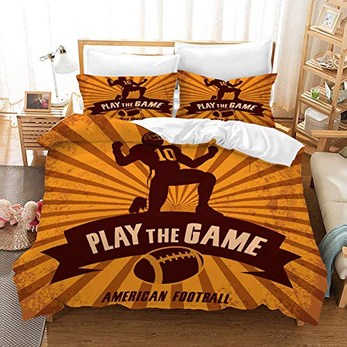 Duvet Cover Sets 3D NFL Printing Child Adult Bedding Set 100% Polyester Gift Duvet Cover 3 Pieces With 2 Pillowcases AMERIGAN FOOTBALL-GB SuperKing102'*87'(260 * 220cm)