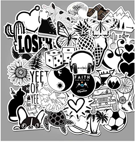 Black And White Simple Series Graffiti Stickers Personalized Luggage Skateboard Computer Car Waterproof Stickers 50 Sheets