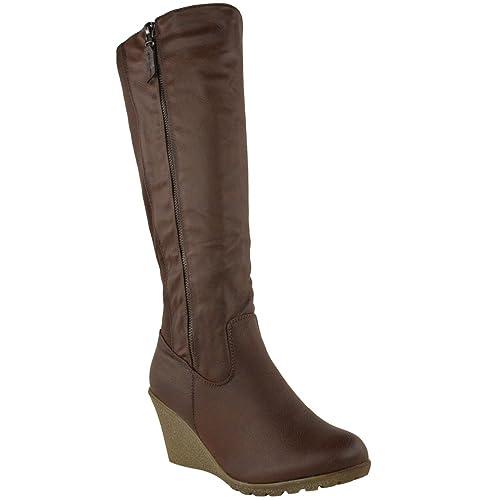 5e49d3339b5d Fashion Thirsty WOMENS LADIES WEDGE HEEL KNEE HIGH MID CALF WIDE LEG ELASTIC  WINTER BIKER BOOTS