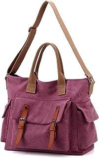 YANAIER Damen Canvas Schultertasche Handtasche Groß Vintage Umhängetasche Multi-Beutel Hobo Shopper Tasche Lila rot