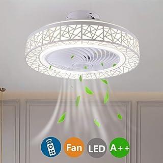 Luz de Ventilador de Techo LED Regulable con Control Remoto Velocidad del Viento Ajustable Ventilador de Techo Silencioso Sala de Estar Dormitorio Habitación para Niños Lámpara de Techo-50CM(A-Blanco)