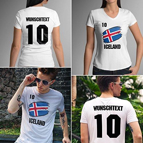 Iceland | Island | Männer oder Frauen Trikot T - Shirt mit Wunsch Nummer + Wunsch Name | WM 2018 T-Shirt