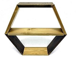 Scaffale Esagonale, Mensola a nido d'ape a Parete, realizzato con Listoni in Abete Upcycling design, Libreria, Ripiano. Ma...