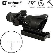 ohhunt 4x32 ACOG Style Horseshoe Reticle Real Fiber Optics Red or Green Illuminated Rifle Scopes