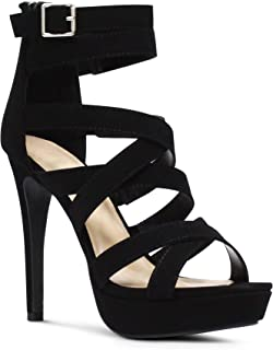 MARCOREPUBLIC Indianapolis Women's Open Toe High Platform High Heeled Shoes Stiletto Dress Sandals - (Black NBPU)- 7.5