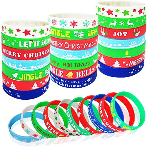 50Pack Christmas Silicone Bracelets, Xmas Rubber Band Bracelets Accessories Gift for Kids, Holiday Decoration Wrist Band Party Supplies Favors, Christmas Bands Print Craft with Snowflakes, Santa Claus, Snowman, Elk, Assorted Patterns