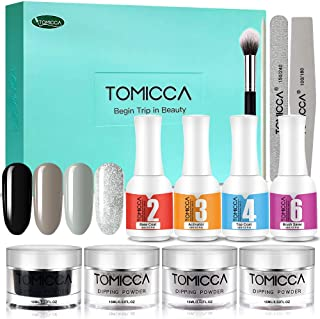 TOMICCA Nail Dipping Powder System Starter Kit of 4 Colors 0.52oz Glitter Color Acrylic Powder