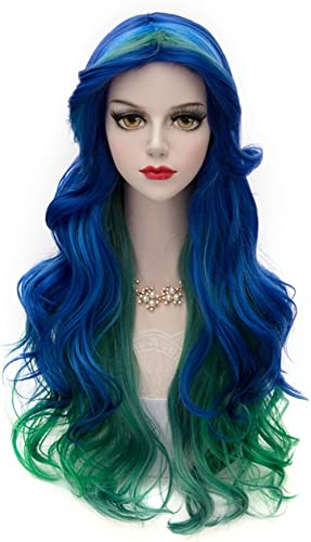 Christmas Women Peacock Blue Green Wig, MQ Long Curly Wavy Wigs for Girl 29.5 Inch Colorful Wig New Year Cosplay Cost...