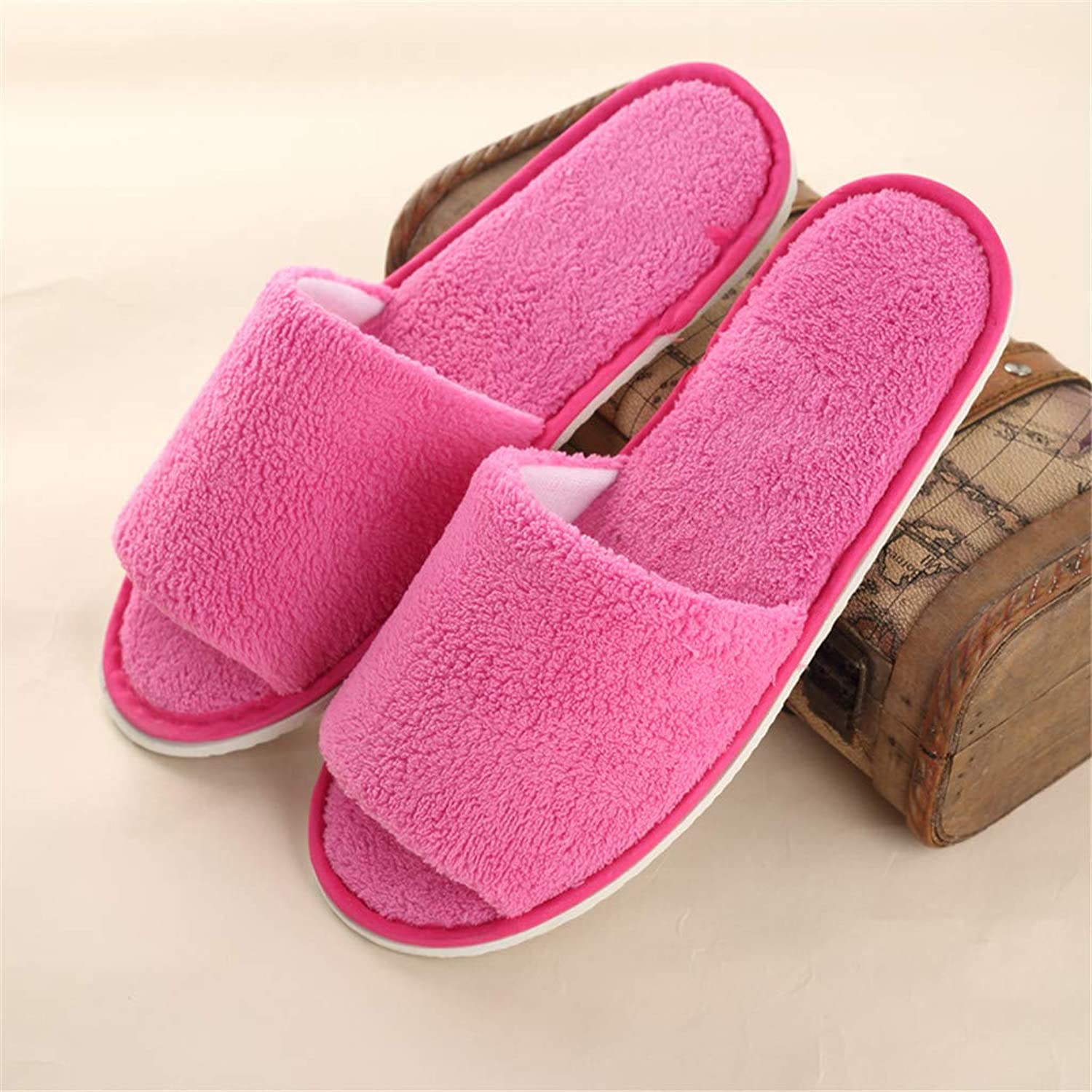 10 Pairs Disposable Spa Slippers - Coral Fleece Comfortable and Non-Slip - Perfect for Home, Hotel Commercial Use,Pink,Open