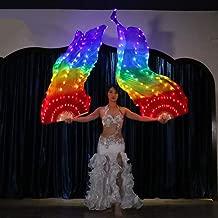 Wgwioo LED Light Belly Dance Fan Veil, 5 Color Silk Fan for Dance/Outdoor