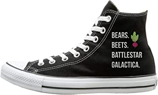 FOOOKL Bears Canvas Shoes High Top Design Black Sneakers Unisex Style