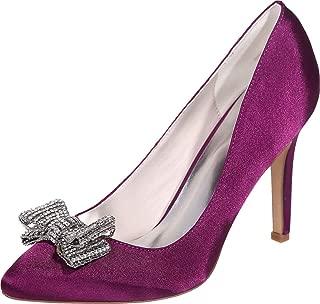 Vimedea Womens Dress Shoe Pointy Toe Prom Heeled Pump Office Rhinstone Slip On 0608-26