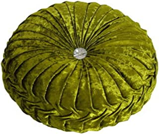 NOVWANG Round Solid Color Velvet Chair Cushion Couch Pumpkin Throw Pillow Home Decorative Floor Pillow,13.39 x 13.39, Green