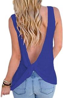 Suncolor8 Women's Top Sleeveless Sexy Crosscriss Backless T-Shirt Blouse Tank Top