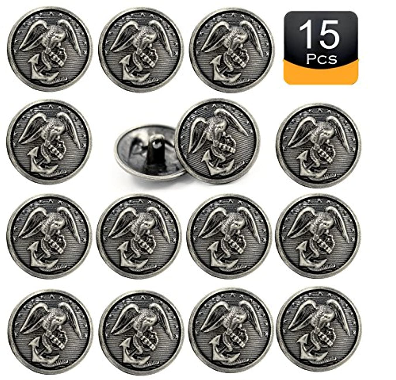 Bezelry 15 Pieces Eagle & Anchor Marine Corps Old Emblem Gray Silver Color Metal Shank Buttons 23mm