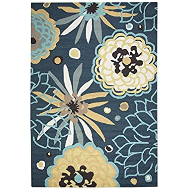 Rizzy Home Azzura Hill Collection Hand-Tufted Area Rug, Navy/Teal/Ochre Yellow/Gray, 2' x 3'