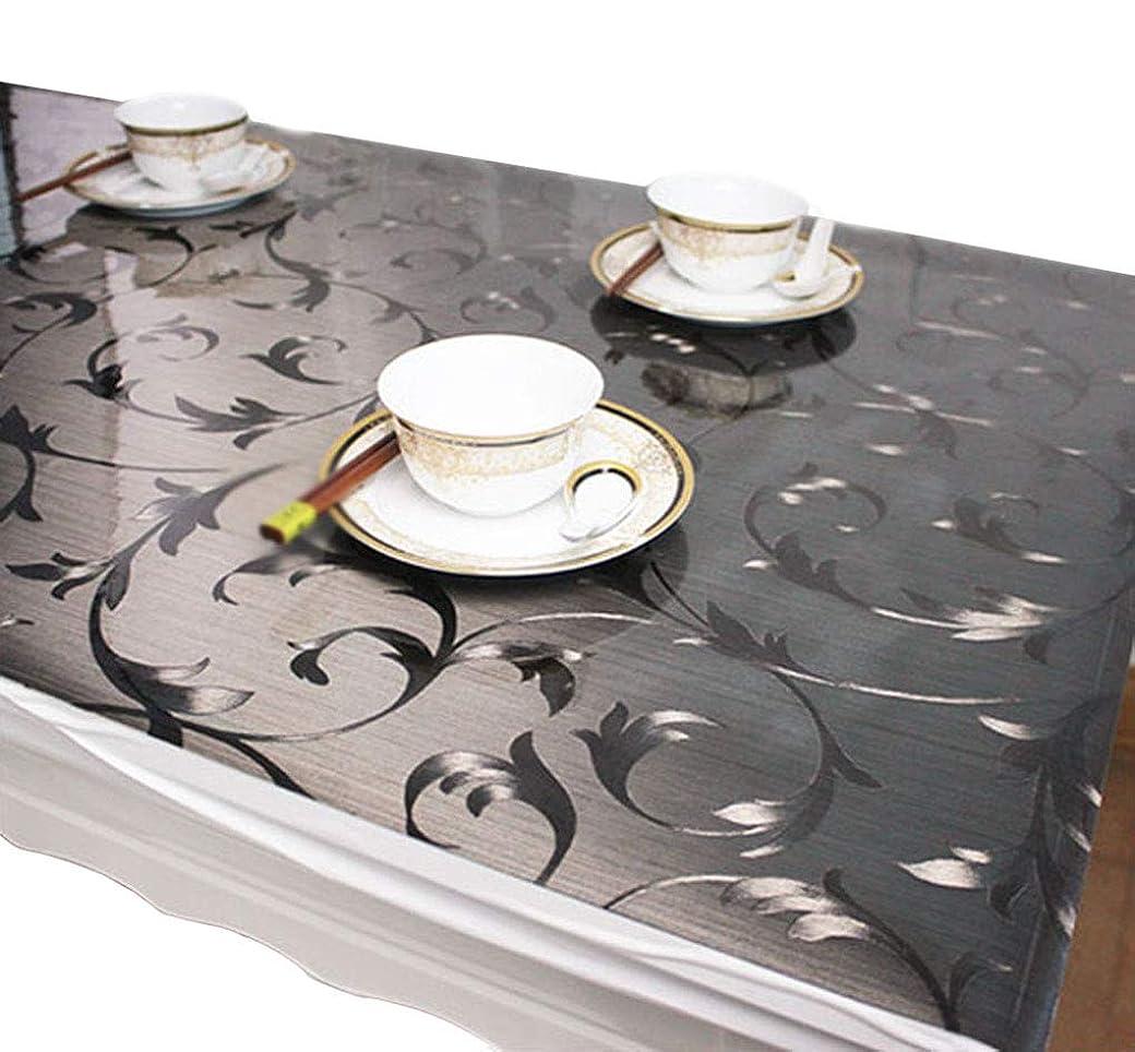 錫インストラクター救援EGROON PVC製 長方形 テーブルクロス テーブルマット テーブルクロス デスクマット 防水 耐久 汚れ防止 (60*120cm, グレー)