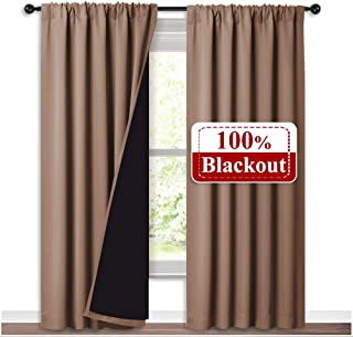 Best NICETOWN Full Blackout Curtains Thermal, Noise Reduction and Privacy Curtains for Patio Door, Black Lined Blackout Drapes with Rod Pocket, Taupe, 1 Pair, W52 x L84 Review