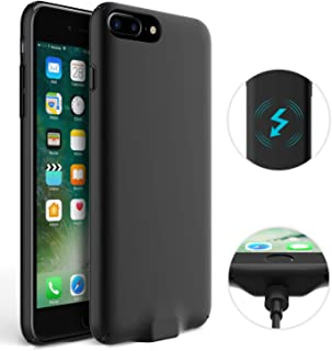 DONWELL iPhone 7 6S 6 Wireless Charger Charging Receiver Case Cover, Shockproof Scratch Resistant Overcurrent Protection Case Cover with Cable Charging Port (Black)
