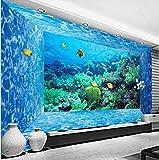 Papel Pintado Pared Acuario banco de peces Fotomural Tejido no Tejido 3D Murales Moderna de Diseno Fotográfico Decoración Salón Dormitorio Habitaciones Comedores 250x175cm